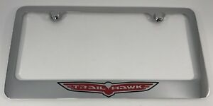 License Plate Frame Chrome W Red Black trail Hawk Embem Logo For Jeep