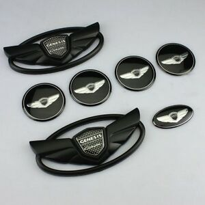 For Hyundai Genesis Coupe Matte Black Wing Logo Emblem Set 7pcs