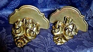 Pair Italian Wood Gilt Gesso Rococo Carved Wall Shelves