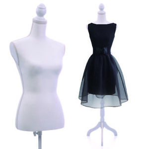 New White Female Mannequin Torso Clothing Display W Black Tripod Stand