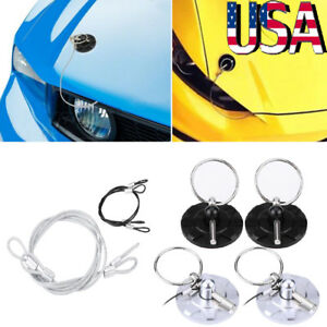 2pc Car Universal Cnc Billet Aluminum Racing Bonnet Hood Pin Lock Appearance Kit