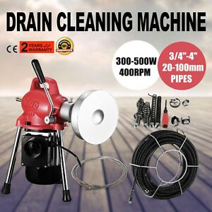 3 4 4 dia Sectional Pipe Drain Cleaner Machine W 20m 16mm 5m 8mm Cable Pro