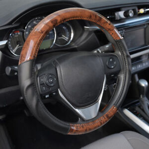 Acdelco Smooth Synthetic Leather Steering Wheel Cover Strong Grip Dark Wood