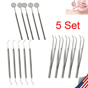 5set Dental Instruments Set Oral Care Kit Tools With Mouth Mirror Tweezers Probe