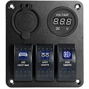 Rocker Switches Blue Led Light Waterproof Marine boat Car Panel Gang Usb Charger