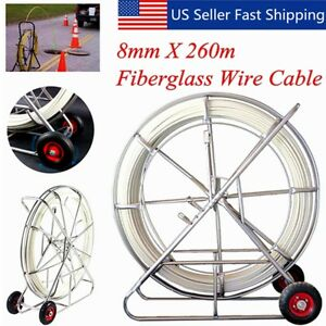 260m 853ft Fish Tape 8mm Fiberglass Wire Cable Running Rod Duct Rodder Puller