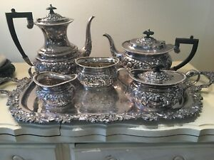 Antique English Sheffield Silver Plate 5 Piece Coffee Tea Service