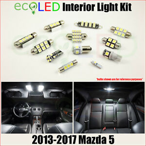 Fits 2013 2017 Mazda 5 White Led Interior Light Accessories Replacement Kit 6 Pc