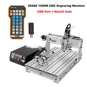 6040z 4 Axis Usb Mach3 1500w Cnc Router Engraving Milling Machine Remote Control