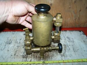 Old Essex Pint Size Hit Miss Gas Engine Oiler Brass Oil Field Steam Tractor Nice