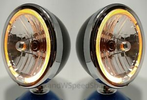 Pair Black Dietz 7 Halogen Headlights Lamps W Amber Led Halo Ring Lights