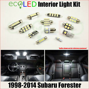 Fits 1998 2014 Subaru Forester White Led Interior Light Package Kit 6 Bulbs