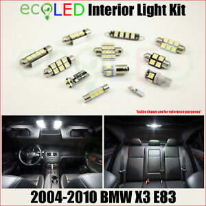 Fits 2004 2010 Bmw X3 E83 White Led Interior Light Replacement Package Kit 13 Pc