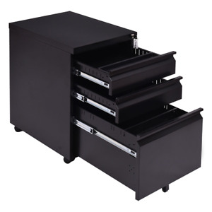 Black 3 Drawers Rolling Mobile A4 F4 File Pedestal Storage Cabinet Steel Offi
