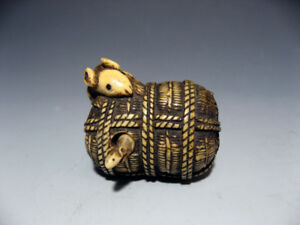 Netsuke Mouse Straw Ricebag Mice Edo Era Japanese Antique Stag Horn Carved F Ems