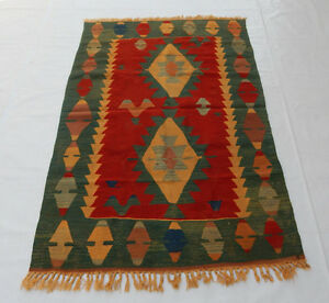 Old Traditional Hand Made Turkish Coulorful Wool Kilim Rug 181x119cm 065