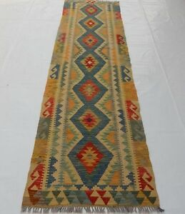 Old Traditional Hand Made Turkish Colorful Wool Kilim Rug Runner 296x82cm 116