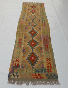 Old Traditional Hand Made Turkish Colourful Wool Kilim Rug Runner 296x80cm 108