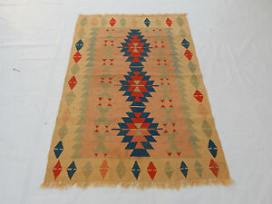 Old Traditional Hand Made Turkish Coulorful Wool Kilim Rug 164x116cm 091