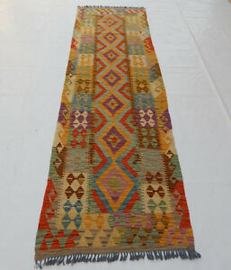 Old Traditional Hand Made Turkish Colourful Wool Kilim Rug Runner 298x89cm 107