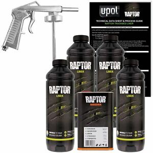 U Pol Raptor Tintable Urethane Spray On Truck Bed Liner Kit W Spray Gun 4 Liter