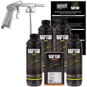 U Pol Raptor Black Urethane Spray On Truck Bed Liner Kit W Spray Gun 4 Liter