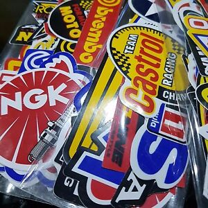 Lot Racing 120 Stickers Decals Motocross Motorcycles Car Vintage Decal Sticker