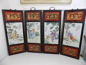 Antique Four Chinese Porcelain Panel Chinois Wood Carving Famille Rose Rare
