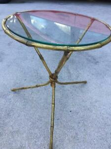 Chic Italian Brass Glass Faux Bamboo Tripod Side Drink Table