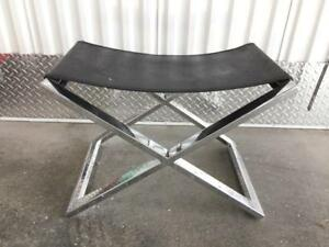 Chrome X Base Bench Stool With Croco Embossed Leather Top