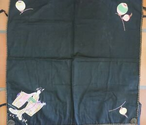 Vintage Silk Card Table Cover With Embroidered Corners 1920s 1930s