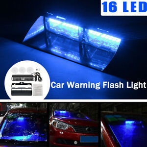 New Car Suv 16 Led Blue Police Strobe Flash Light Dash Emergency Flashing Light