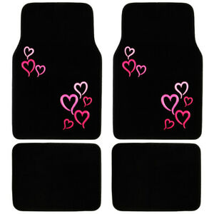 Blue Hearts Girly Carpet Floor Mats Premium Car Accessories Front
