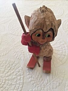 Henning Norway Carved Wood Boy With Skis