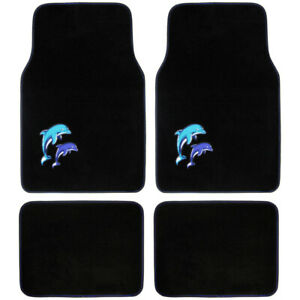 Blue Dolphins On Black Carpet Floor Mats For Car Suvs Truck Van Front