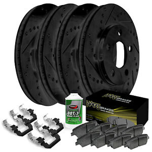 Full Kit Black Hart Drilled Slotted Brake Rotors Disc And Ceramic Pads Mustang