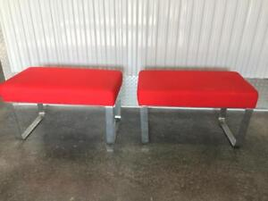 Vintage Pair Of Chrome Milo Baughman Style Upholstered Benches Ottomans Stools