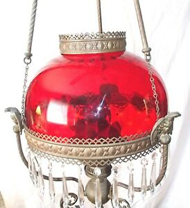Antique Crystal Chandelier Hanging Oil Lamp Ruby Shade Parker Style