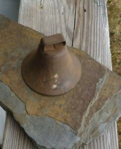 Antique Rusty Pressed Steel Cow Goat Bell With Original Clapper