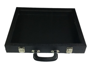 Glass Top Lid Display Carrying Case W Handle 16 1 4 w X 15 d X 2 1 8 h