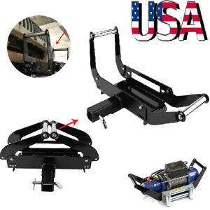 Foldable Recovery Winch Mounting Plate Cradle Mount 2 Hitch Receiver 4wd Suv