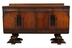Unique Vintage French Art Deco Intricately Carved Oak Cabinet 71562