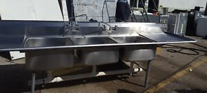 Eagle Heavy Duty Commercial 3 Compartment Stainless Steel 10 Ft Sink