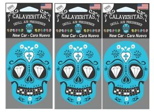 Sugar Skull Day Of Dead Air Freshener New Car Scented 3 Pack