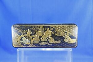 Antique Asian Lacquer Box With Gold Hand Painted Interior Scene