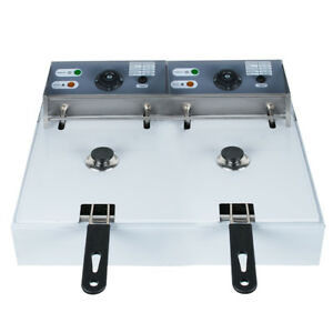 Usa Electric 16l 8l 2 Dual Tanks Deep Fryer Commercial Tabletop Fryer Machine