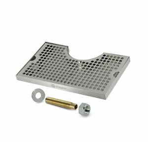 Beer Drip Tray Stainless Surface Mount 3 Column Cut out W Drain With Drain