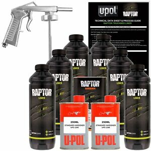 U pol Raptor Black Urethane Spray on Truck Bed Liner Kit W Free Spray Gun 6 L
