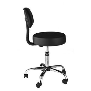 Medical Stool Office Chair Lab Exam Dental Doctor Back Cushion Padded Seat Black