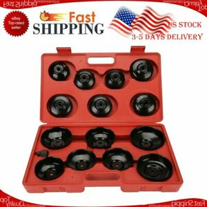 Universal 14pcs Aluminum Alloy Cup Type Oil Filter Cap Wrench Socket Removal Set